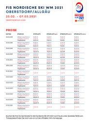 Preisliste Einzeltickets WM 2021