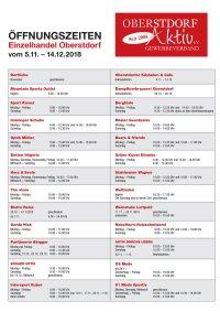 Öffnungszeiten Einzelhandel Oberstdorf 05.11.-14.12.2018