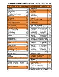 Aktuelle Preisliste Semmeldienst