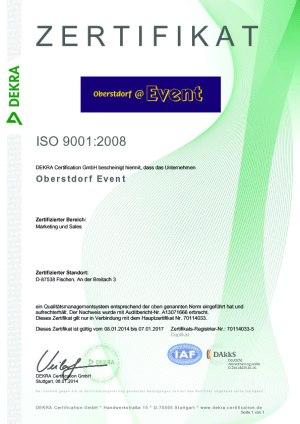 ISO-Zertifikat Oberstdorf Event