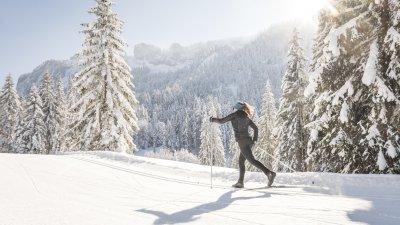 Langlaufen in einer Winterwelt