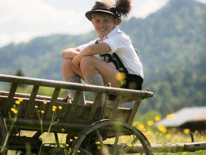 Junge sitzt im Leiterwagen