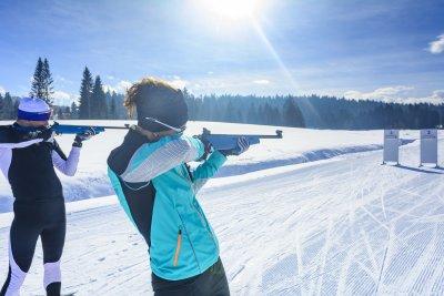 Konzentration am Biathlon-Schießstand