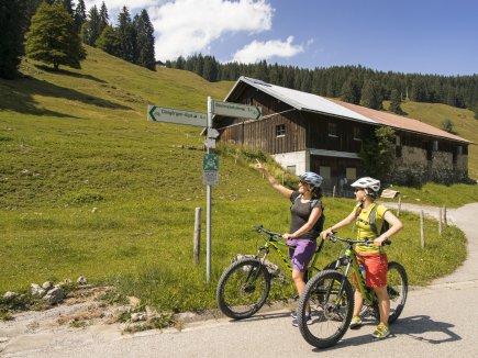 Mountainbiker am Wegweiser