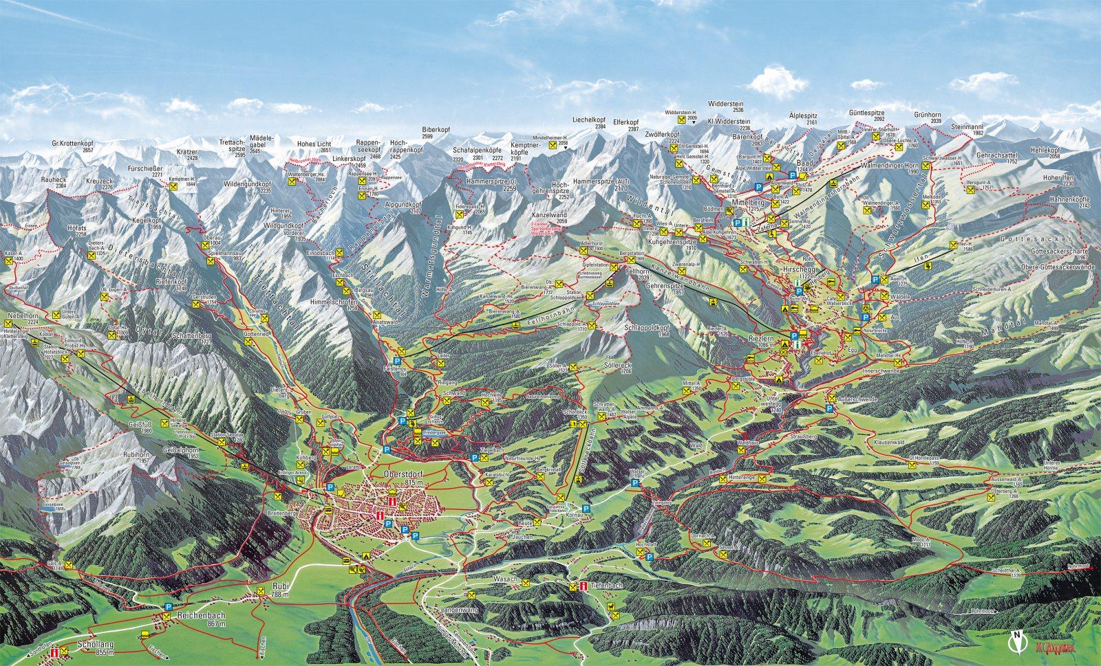 Wanderwege rund um Oberstdorf - Oberstdorf Karte Deutschland