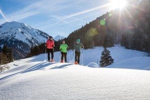 Schneeschuhtour in wunderschöner Landschaft - mitten in den Bergen.