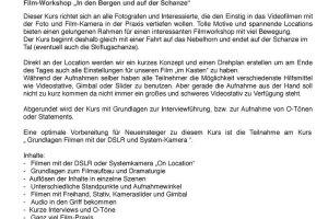 Infoblatt Videoworkshop On Location