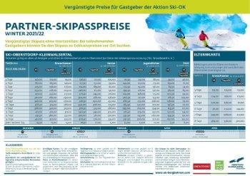 Partner-Skipasspreise 2021/2022