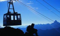 Bergbahn und Wanderer