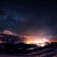 Oberstdorf mit Sternenhimmel