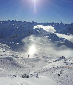 Blick ins Skigebiet Nebelhorn