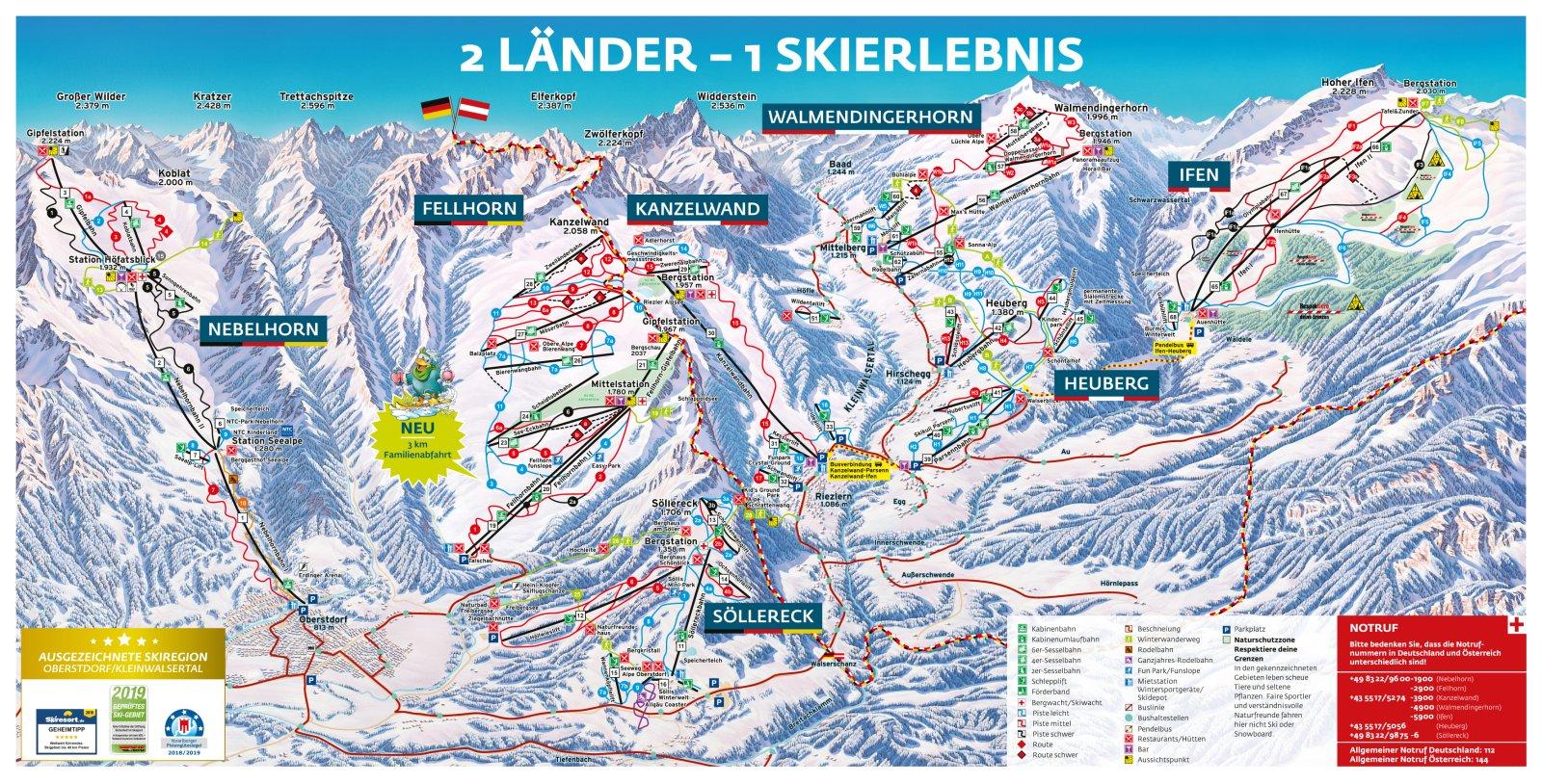 Pistenplan Skiregion Oberstdorf