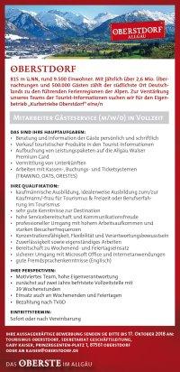 Stellenanzeige Tourismus Oberstdorf
