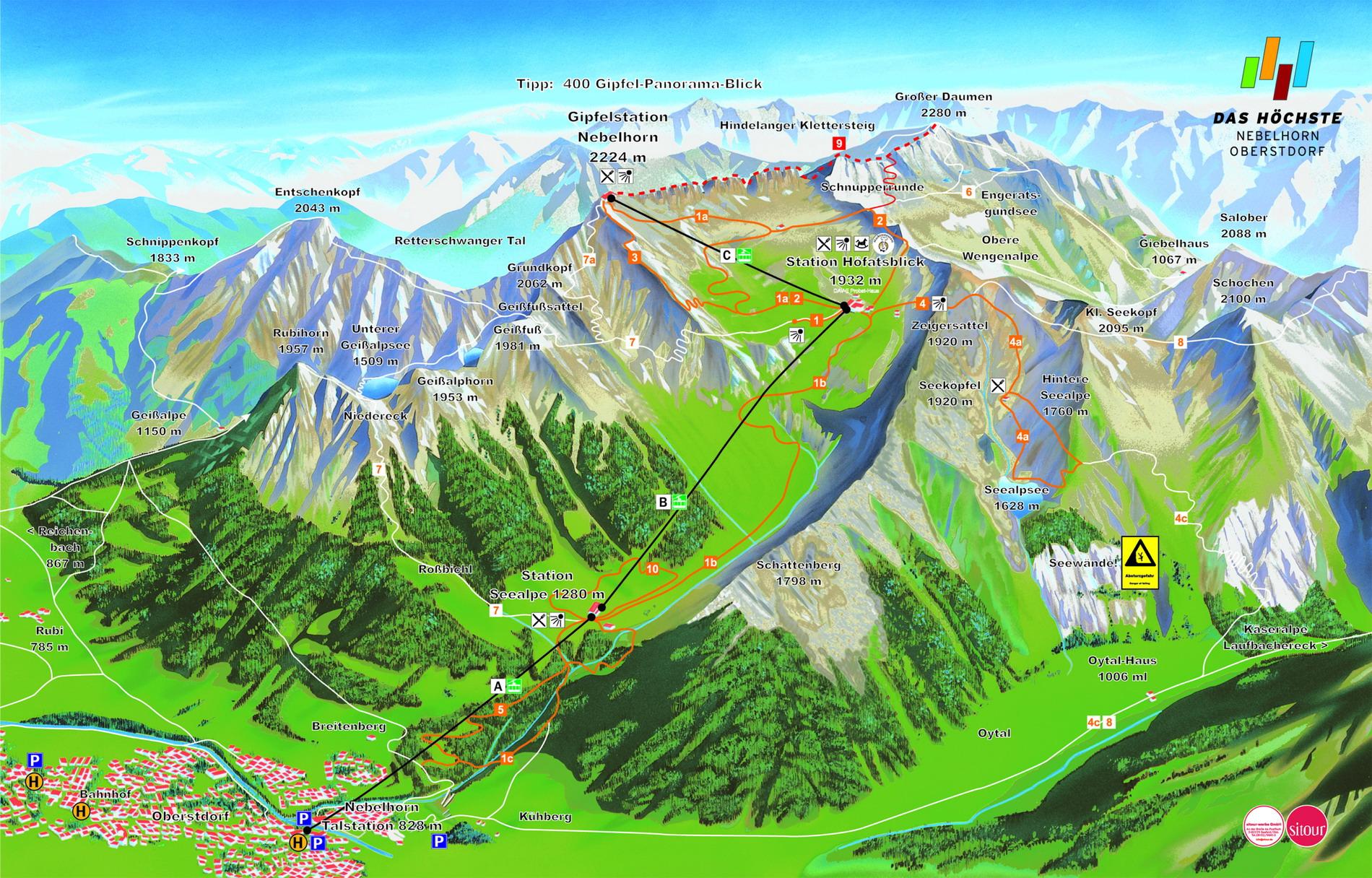 Panoramakarte Nebelhorn