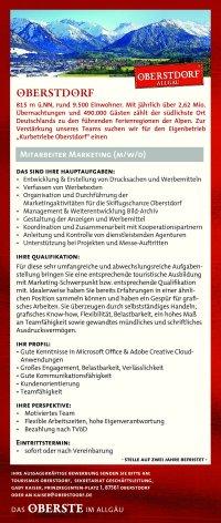 Stellenausschreibung Tourismus Oberstdorf