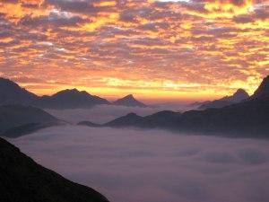 Sonnenuntergang von der Rappenseehütte