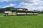 Oberstdorfer Marktbähnle auf der Fahrt durch grüne Wiesen