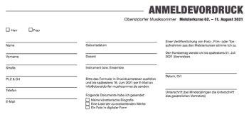 Oberstdorfer Musiksommer 2021 Anmeldevordruck Meisterkurse