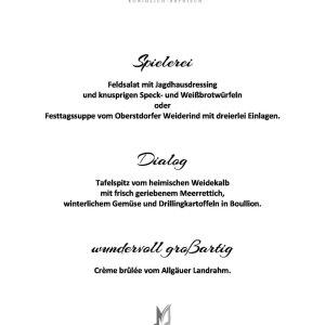 Menü Jagdhaus 05.01.2020