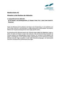 Auskunftsrecht des Aktionärs (§ 131 Absatz 1 des Aktiengesetzes, § 1 Absatz 2 Satz 1 Nr. 3 Satz 2 des Covid-19-Gesetzes)