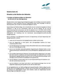 Anträge und Wahlvorschläge von Aktionären ( § 126 und § 127 des Aktiengesetzes)
