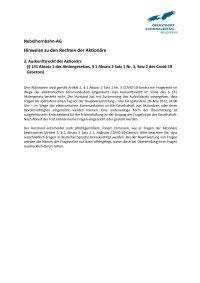 Aktionärsrechte Auskunftsrecht bzw Fragerecht