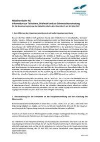 Informationen zur Teilnahme, Briefwahl und zur Stimmrechtsvertretung