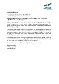 Aktionärsrechte Ergänzungsverlangen nach 122 Abs 2-AktG