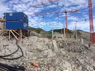 Baufortschritt an der Bergstation
