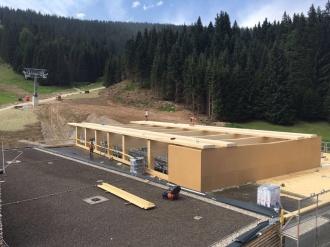 Baufortschritt Holzbau-Arbeiten Talstation