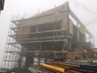 Baufortschritt beim Holzbau an der Bergstation