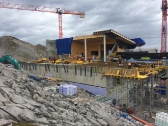 Der Holzbau beim neuen Restaurant schreitet voran