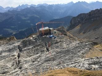 Baufortschritt an der Bergstation und dem neuen Restaurant