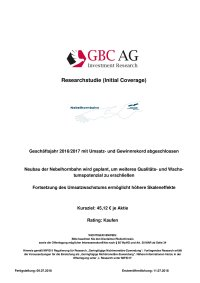 GBC AG, Investment Research, Researchstudie Juli 2018