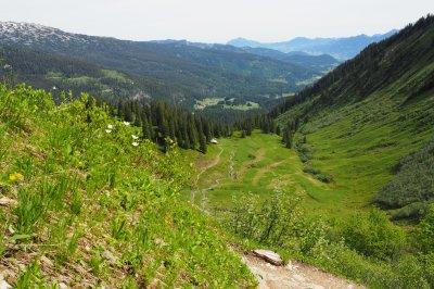 Rückblick auf die Walmendinger Alpe
