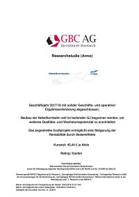 GBC AG, Investment Research, Researchstudie (Anno) März 2019
