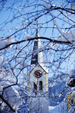 Kirche St. Peter und Paul hinter verschneiten Ästen