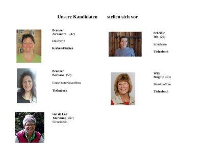 Kandidaten Pfarrgemeinderat Tiefenbach