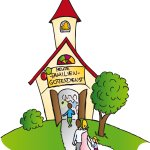 Familie auf die Kirche zu