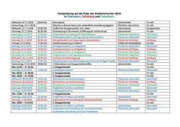 Terminplan Erstkommunion 2019