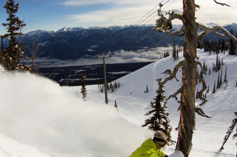 Skiroute in Kicking Horse