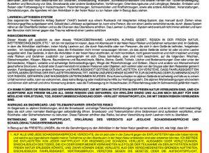 Tyax Heli-Skiing-Haftungsausschlusserklärung