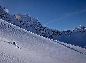 Abfahrt bei Tyax Heli-Skiing