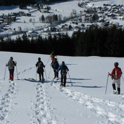 Schneeschuhspuren im frischen Schnee