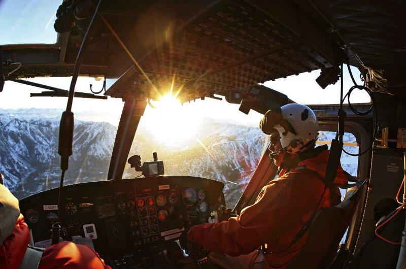 Tyax Heli-Skiing im Sonnenuntergang