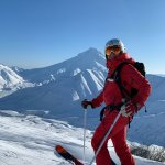 Rita in Kamtschatka beim Heli-Skiing