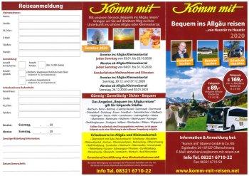 Flyer bequem ins Allgäu reisen 2020