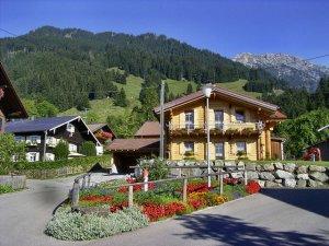 Blumeninsel mit Holzhaus