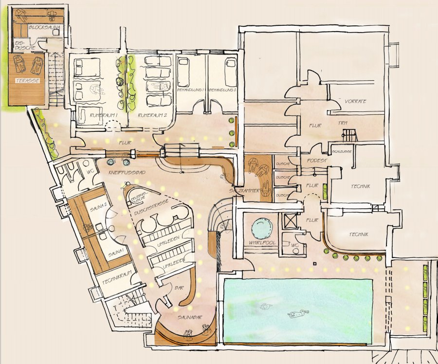 Grundriss Wellness-Center Neugestaltung