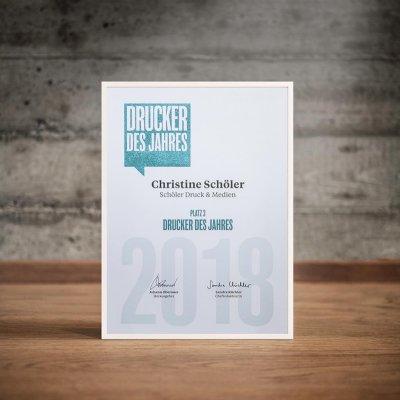Schoeler Kreativ ist Drucker des Jahres - die Auszeichnung